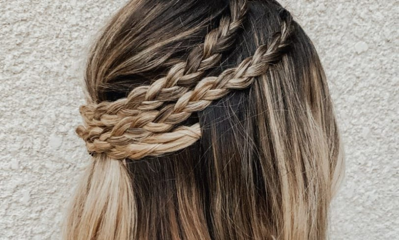 Half Up Triple Braid
